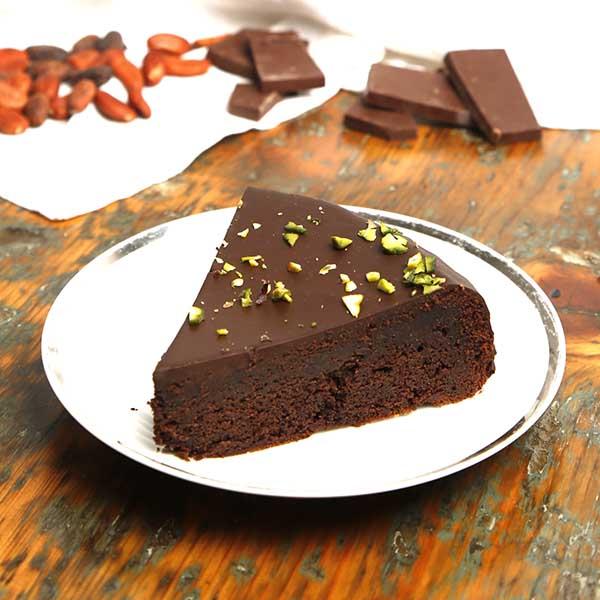 porción pastel de chocolate