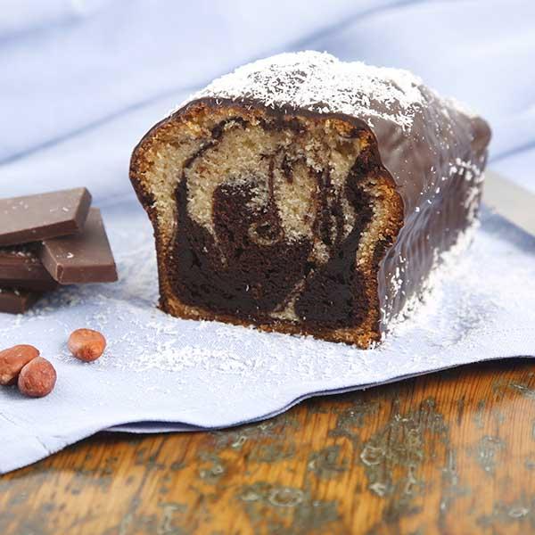 cake marmolado cobertura chocolate y azúcar glas